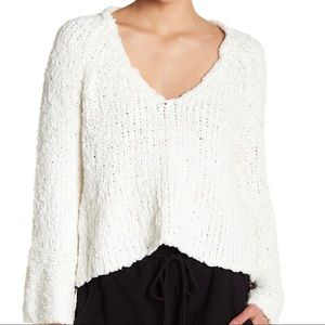 Free People   Sand Dune White Bell Sleeve Pullover